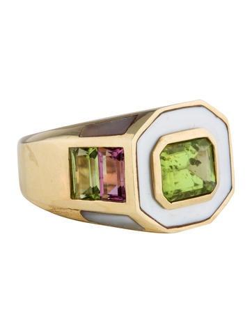 18K Peridot & Tourmaline Ring