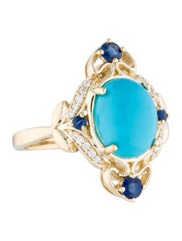14K Turquoise, Blue Sapphire & Diamond Cocktail Ring