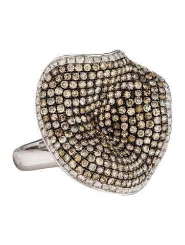 18K Diamond Abstract Flower Ring