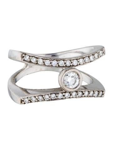 18K Diamond Double Band Ring