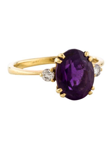Amethyst & Diamond Ring None