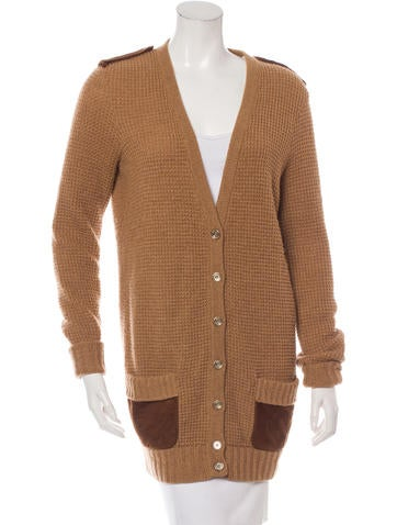Salvatore Ferragamo Camel & Silk V-Neck Cardigan None