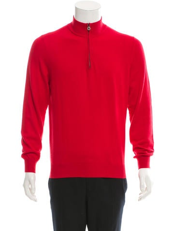 Salvatore Ferragamo Knit Half-Zip Sweater None
