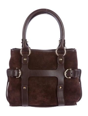 Salvatore Ferragamo Leather-Trimmed Handle Bag None