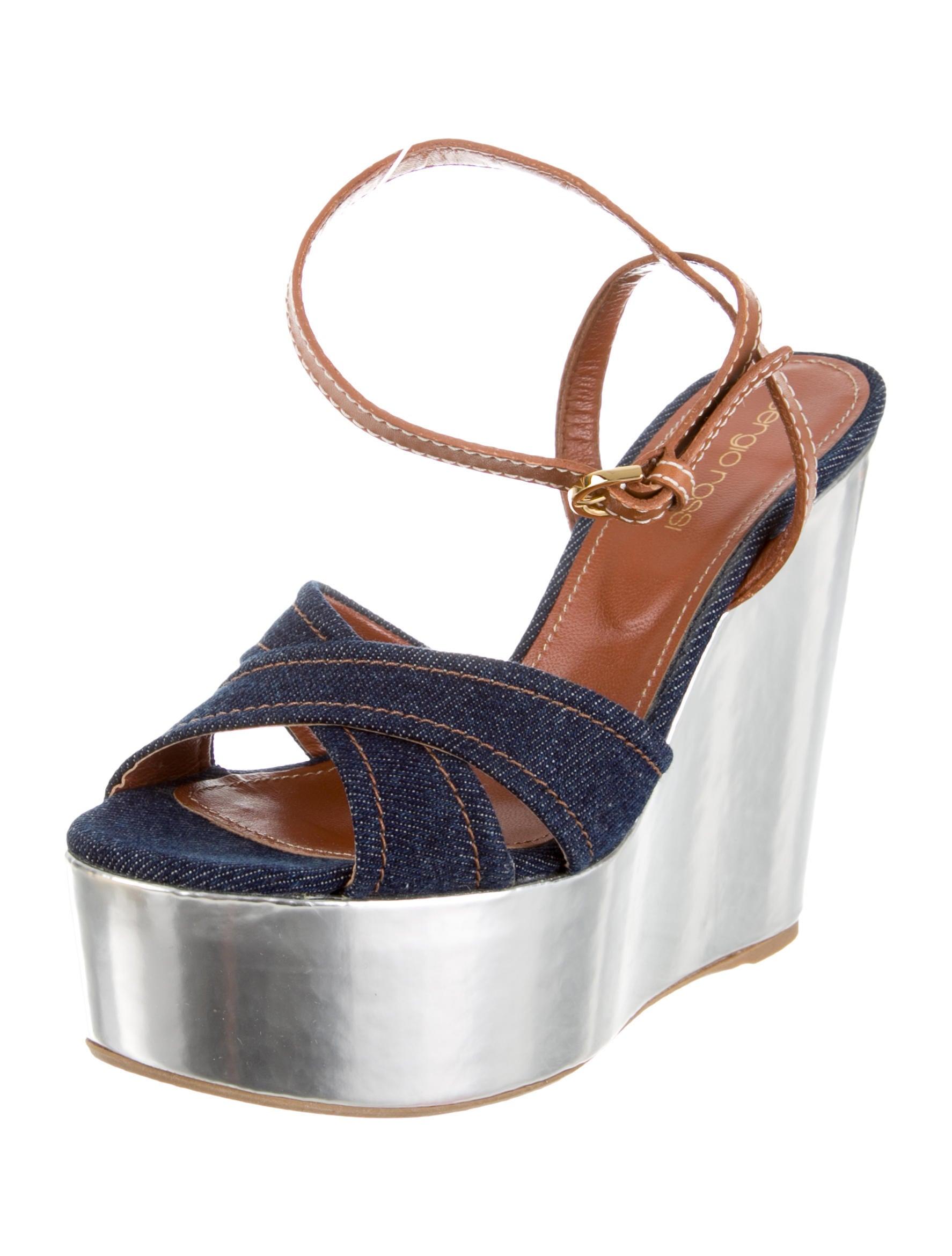sergio denim platform wedges shoes ser23978