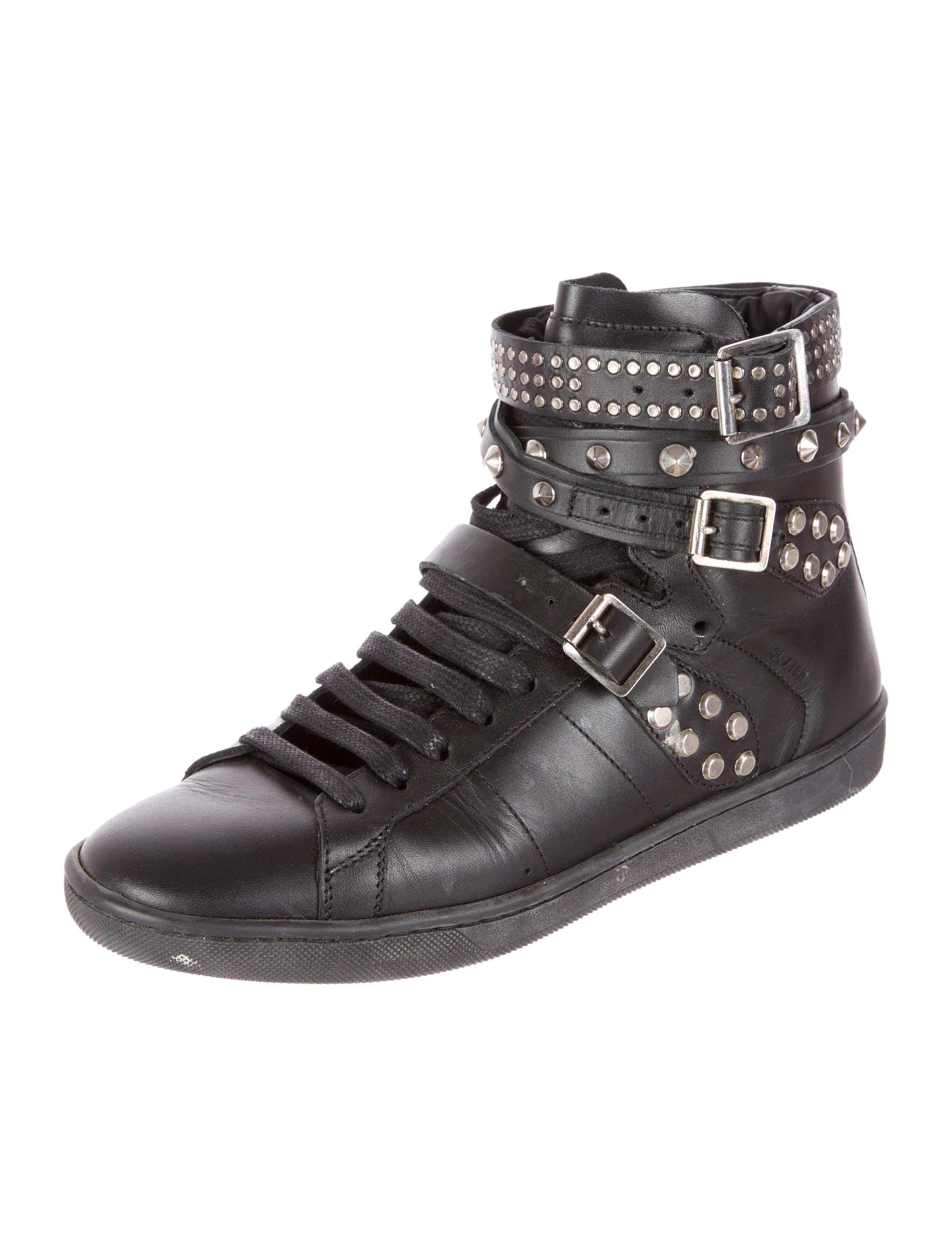 saint laurent studded triple buckle high top sneakers shoes snt23586 the realreal. Black Bedroom Furniture Sets. Home Design Ideas