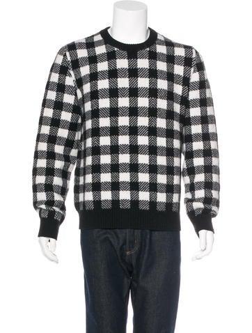 Saint Laurent Wool Check Pattern Sweater None