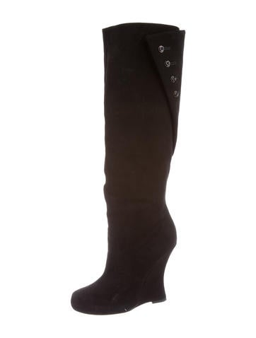 Tabitha Simmons Suede Knee-High Wedge Boots None