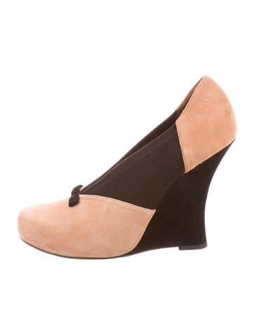 Tabitha Simmons Suede Round-Toe Wedges None