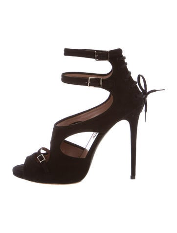 Tabitha Simmons Suede Buckled Sandals None