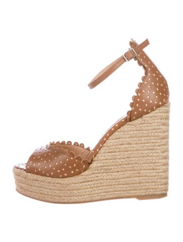 Tabitha Simmons Perforated Leather Wedge Sandals None
