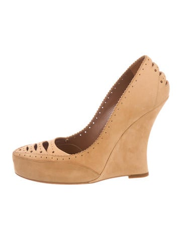Tabitha Simmons Suede Perforated Wedges None