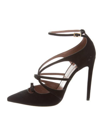 Tabitha Simmons Suede Multi-Strap Pumps None