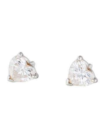 Tiffany & Co. Platinum Heart Shaped Diamond Earrings