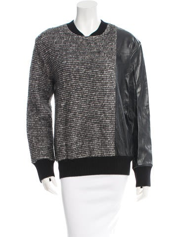 Timo Weiland Leather-Trimmed Wool-Blend Sweater w/ Tags None