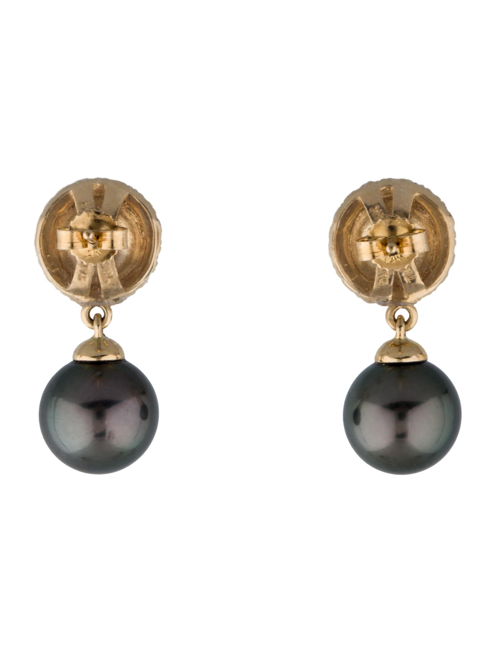 tara pearls 14k and tahitian pearl drop earrings