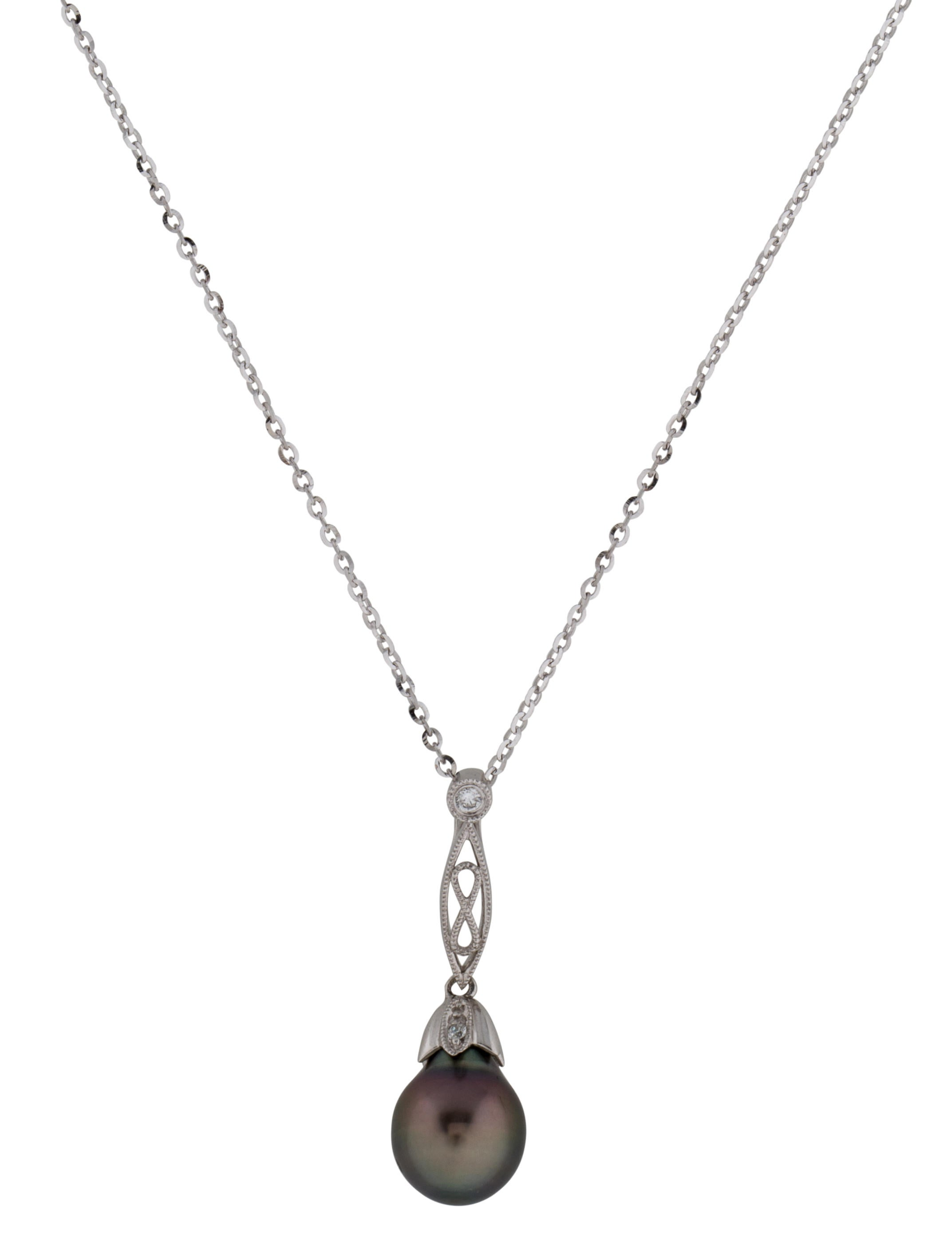 tara pearls tahitian pearland diamond pendant necklace w