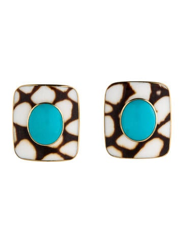 Trianon Antique Marble Shell & Turquoise Clip-On Earrings