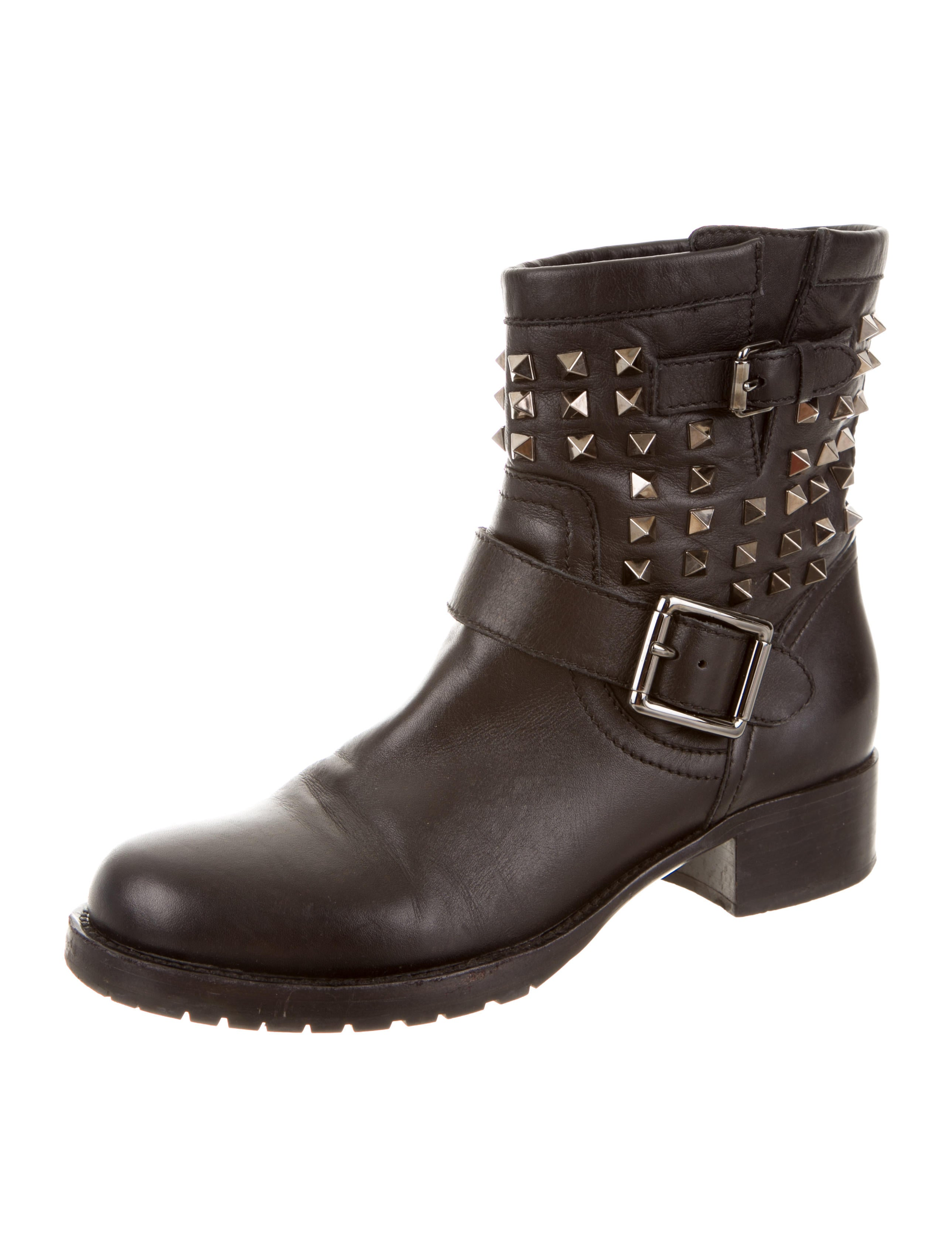 valentino leather rockstud moto boots shoes val38917