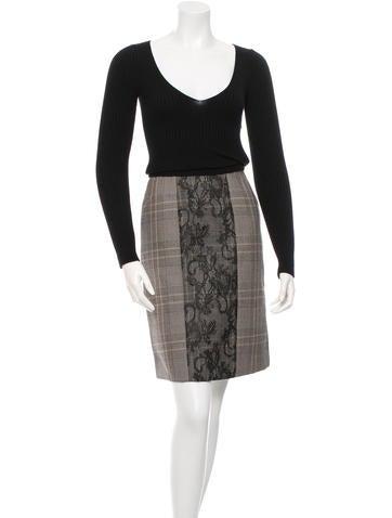 Valentino Virgin Wool Lace-Paneled Dress w/ Tags None