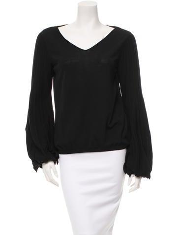 Valentino Virgin Wool Bishop Sleeve Top w/ Tags None