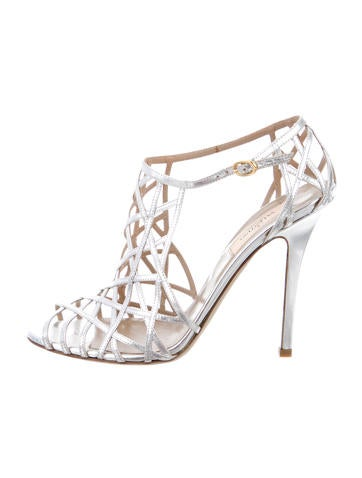 Valentino Metallic Caged Sandals