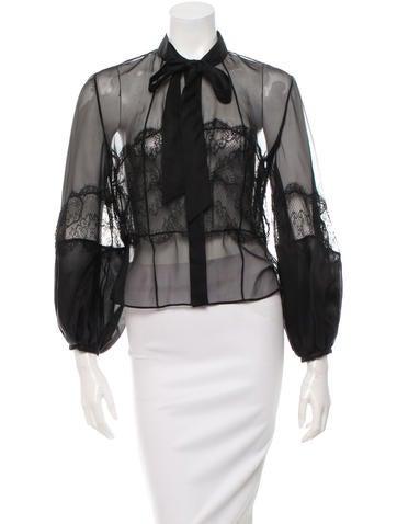 Valentino Lace-Trimmed Silk Top None