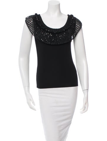 Valentino Sequined & Jewel-Embellished Top w/ Tags None