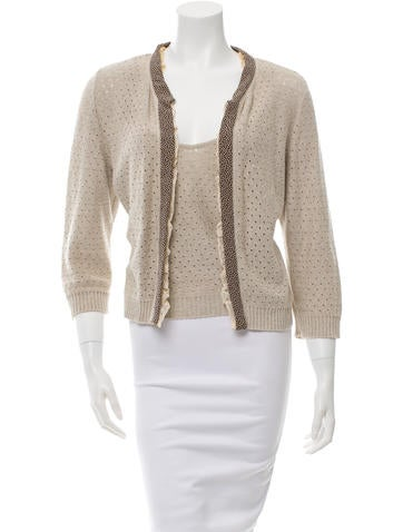 Valentino Open Knit Cardigan Set None