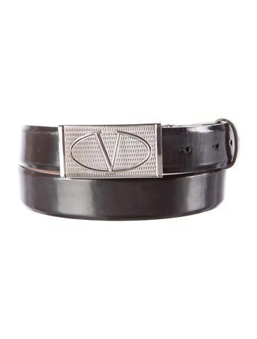 Valentino Leather Logo Belt