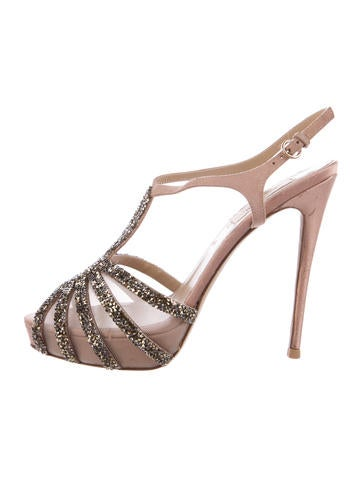 Valentino Embellished Mesh Pumps None