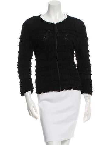 Valentino Ruffle-Trimmed Rib Knit Cardigan w/ Tags None