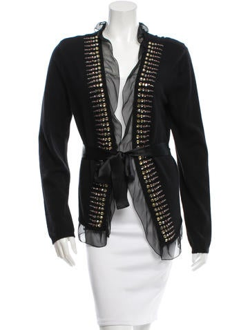 Valentino Wool-Blend Embellished Cardigan w/ Tags None