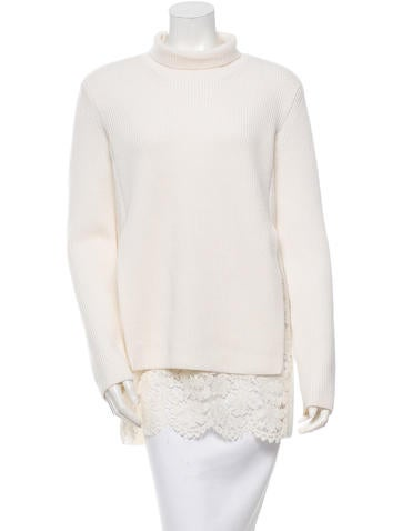Valentino Lace-Trimmed Wool Sweater None