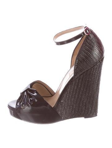 Valentino Embossed Wedge Sandals None