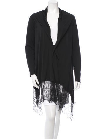 Valentino Wool Lace-Trimmed Cardigan w/ Tags None