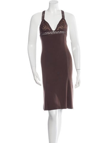 Valentino Rib Knit Sleeveless Dress None