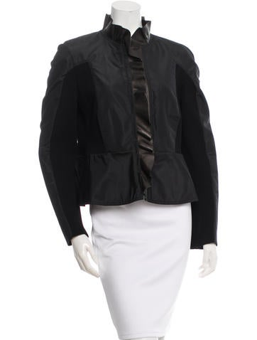 Valentino Leather-Trimmed Zipped Jacket None
