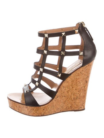Valentino Rockstud Caged Wedges None