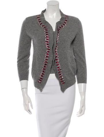 Valentino Embellished Wool Cardigan Set None