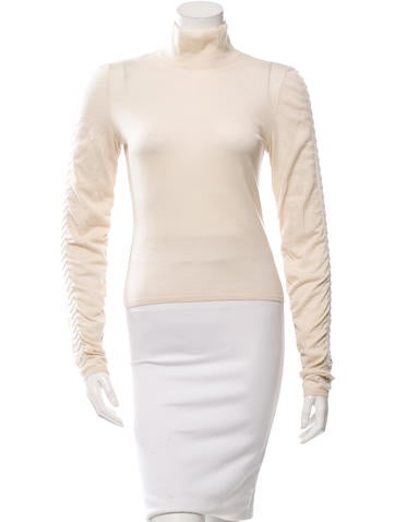 Valentino Wool Gathered-Accented Top None