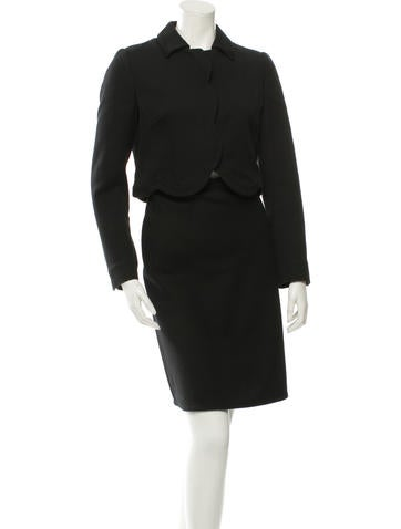 Valentino Cropped Knit Skirt Suit None