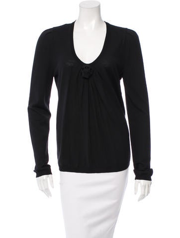 Valentino Wool Scoop Neck Sweater w/ Tags None