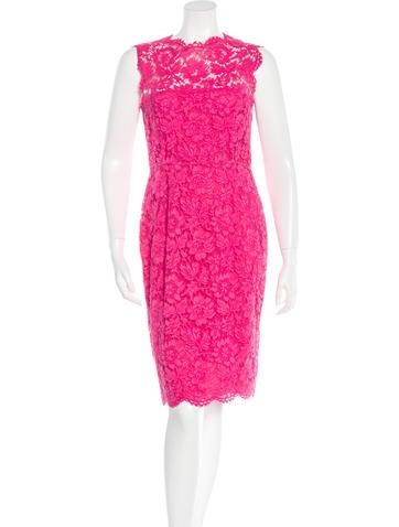 Valentino Lace Sheath Dress None