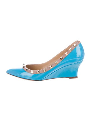 Valentino Rockstud Patent Leather Wedges None