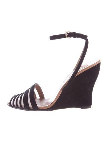 Valentino Suede Wedge Sandals None