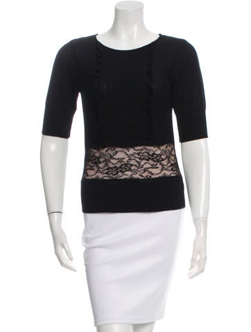 Valentino Lace-Trimmed Virgin Wool Top None