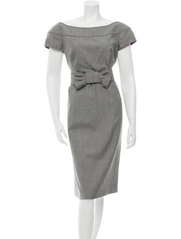 Valentino Belted Virgin Wool Dress None