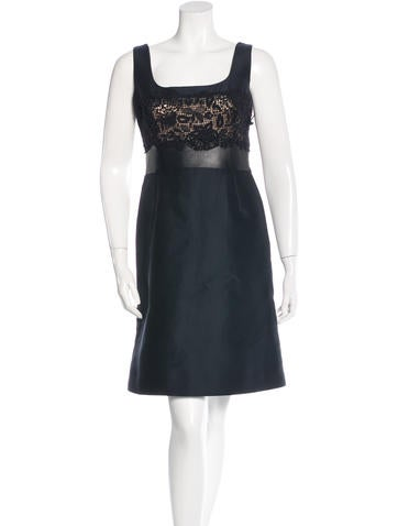 Valentino Lace-Paneled Leatherette-Trimmed Dress w/ Tags None