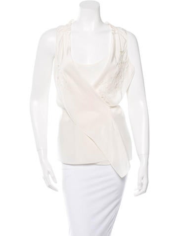 Vanessa Bruno Silk Sleeveless Wrap Top None